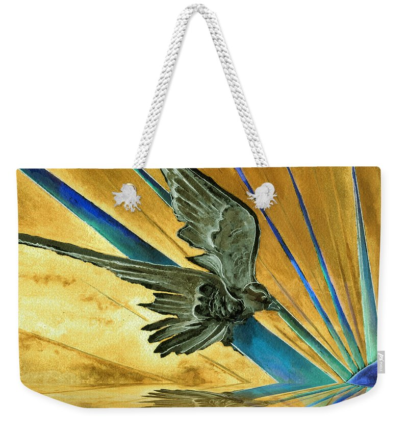 Watercolor Raven Crow Bird Sun Planet Landscape Surreal Fantasy Weekender Tote Bag featuring the painting Blue Genesis  by Brenda Owen