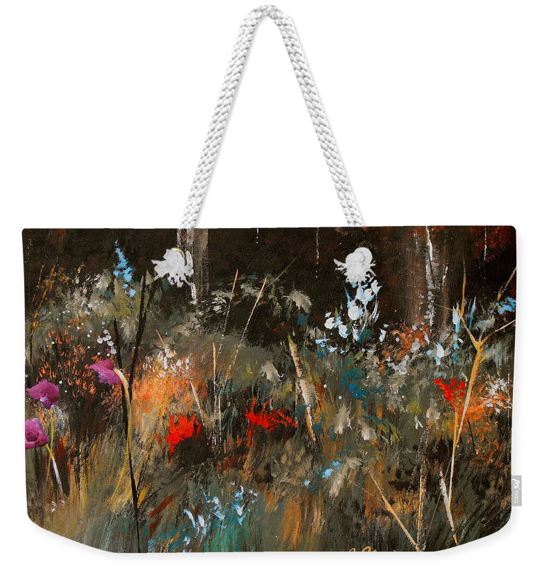 Abstract Weekender Tote Bag featuring the painting Blue Grass And Wild Flowers by Ruth Palmer
