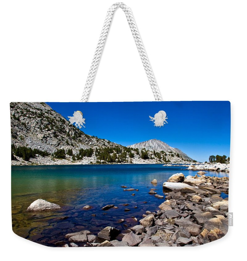 Mountain Lake Weekender Tote Bag featuring the photograph Blue Green Treasure Lake by Chris Brannen