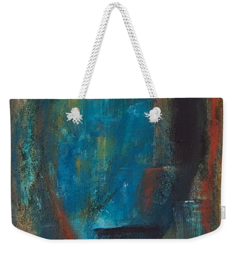Abstract Weekender Tote Bag featuring the painting Blue Grotto by Karen Day-Vath