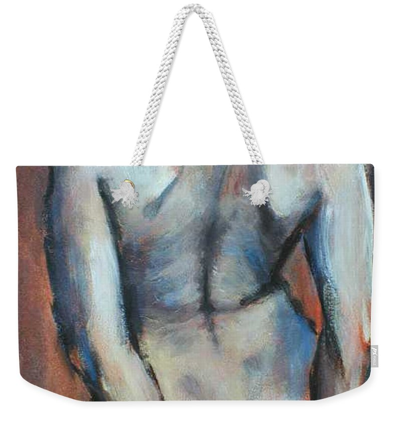 Original Painting Female Nude Drawing Acrylic Blue Hair Weekender Tote Bag featuring the painting Blue Hair by Carmen Tyrrell
