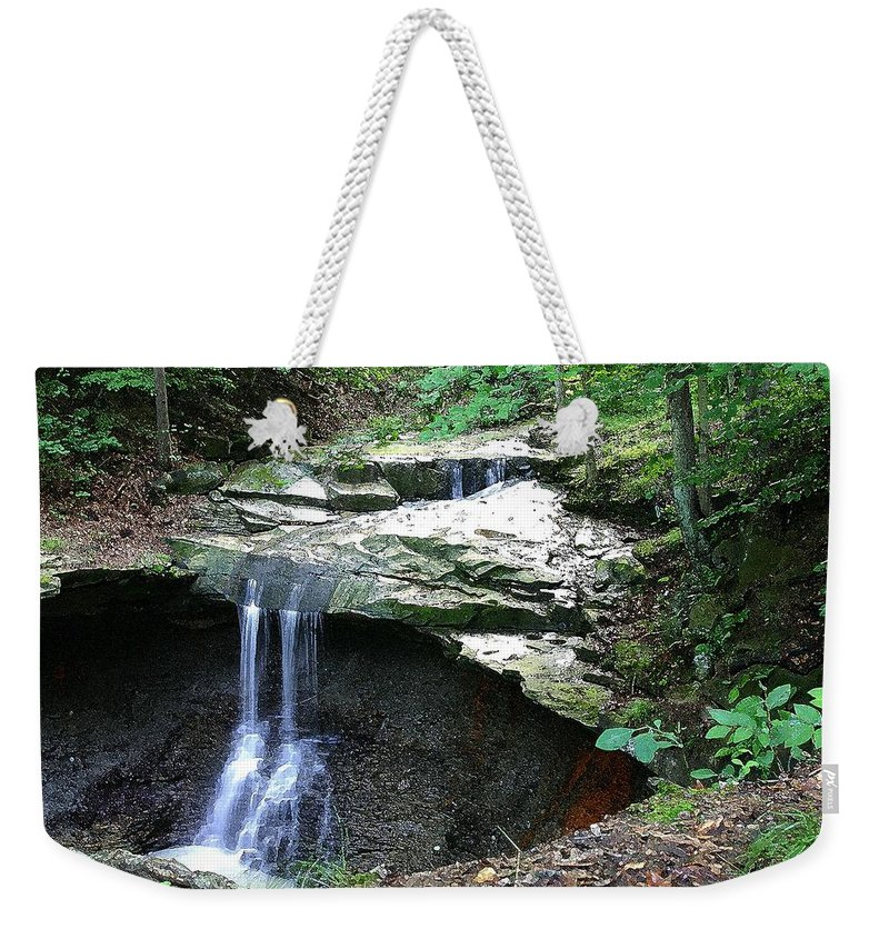 Waterfall. Water Weekender Tote Bag featuring the photograph Blue Hen Falls by Nelson Strong