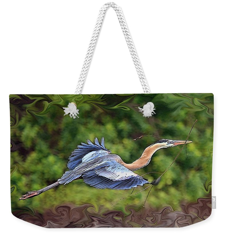 Blue Heron Bird Photography Shore Flight Flying Photograph Weekender Tote Bag featuring the photograph Blue Heron Flight by Shari Jardina