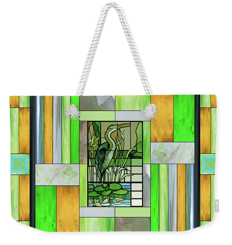 Blue Heron Weekender Tote Bag featuring the mixed media Blue Heron Stained Glass by Ellen Henneke