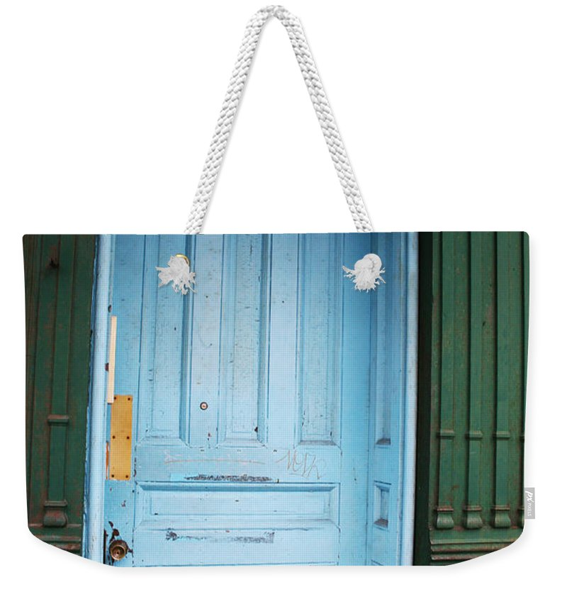 Blue Door Weekender Tote Bag featuring the photograph Blue Home by Jamie Lynn