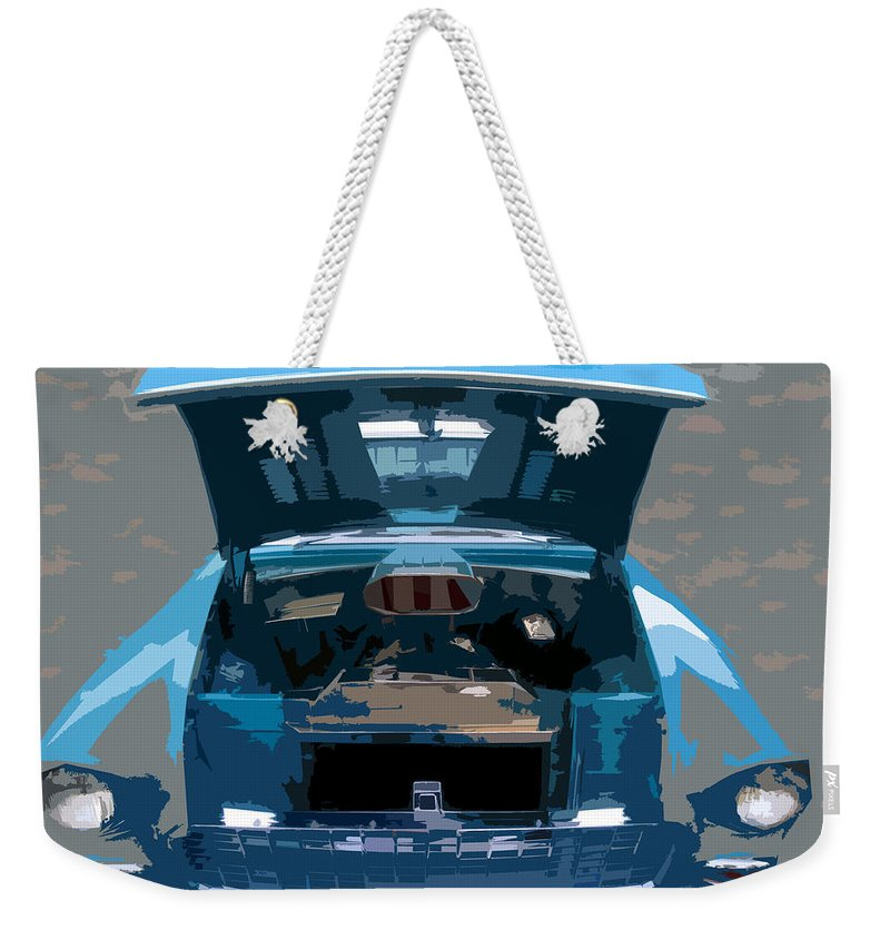 Hot Rod Weekender Tote Bag featuring the painting Blue Hot Rod by David Lee Thompson