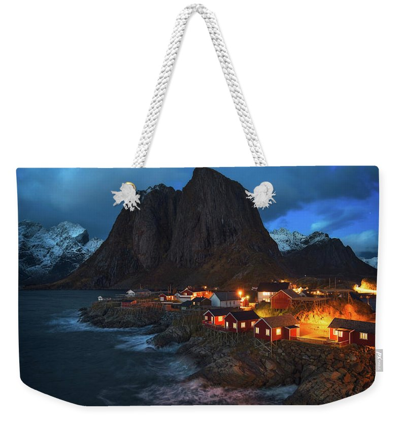Blue Weekender Tote Bag featuring the photograph Blue Hour In Lofoten by Tor-Ivar Naess