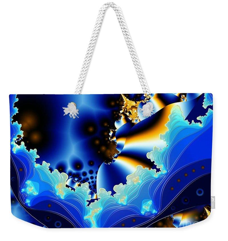 Fractal Art Weekender Tote Bag featuring the digital art Blue Hue by Ron Bissett