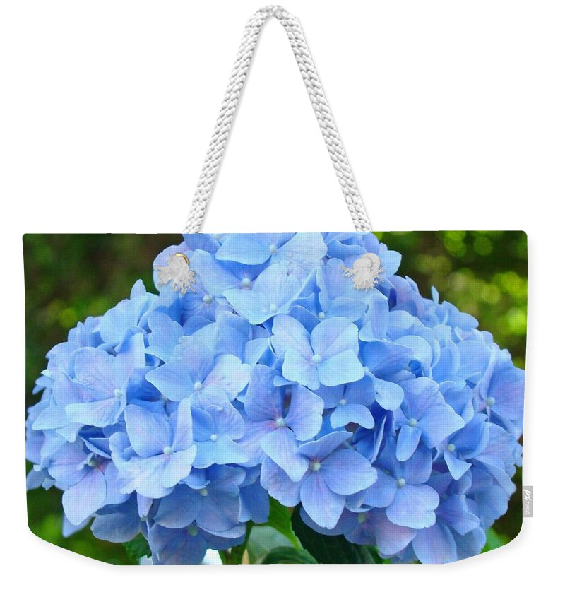 Blue Weekender Tote Bag featuring the photograph Blue Hydrangea Floral art Print Hydrangeas Flowers Baslee Troutman by Patti Baslee