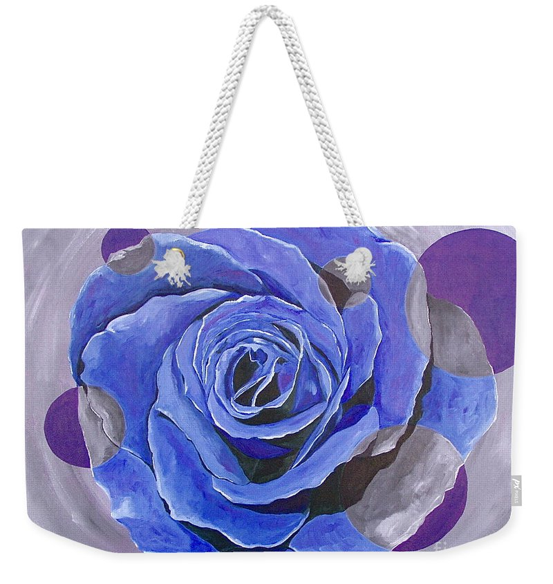 Acrylic Weekender Tote Bag featuring the painting Blue Ice by Herschel Fall