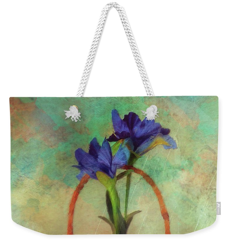 Iris Weekender Tote Bag featuring the digital art Blue Iris In A Basket by Lois Bryan