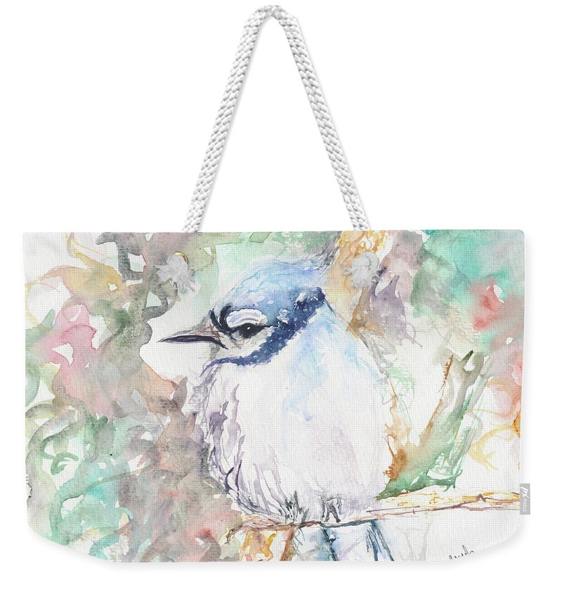 Bird Weekender Tote Bag featuring the painting Blue Jay by Beverly Bronson