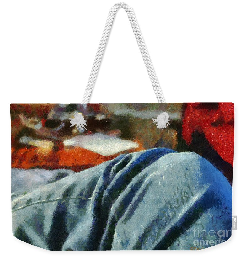 Painting Weekender Tote Bag featuring the painting Blue Jean Morning by Paulette B Wright