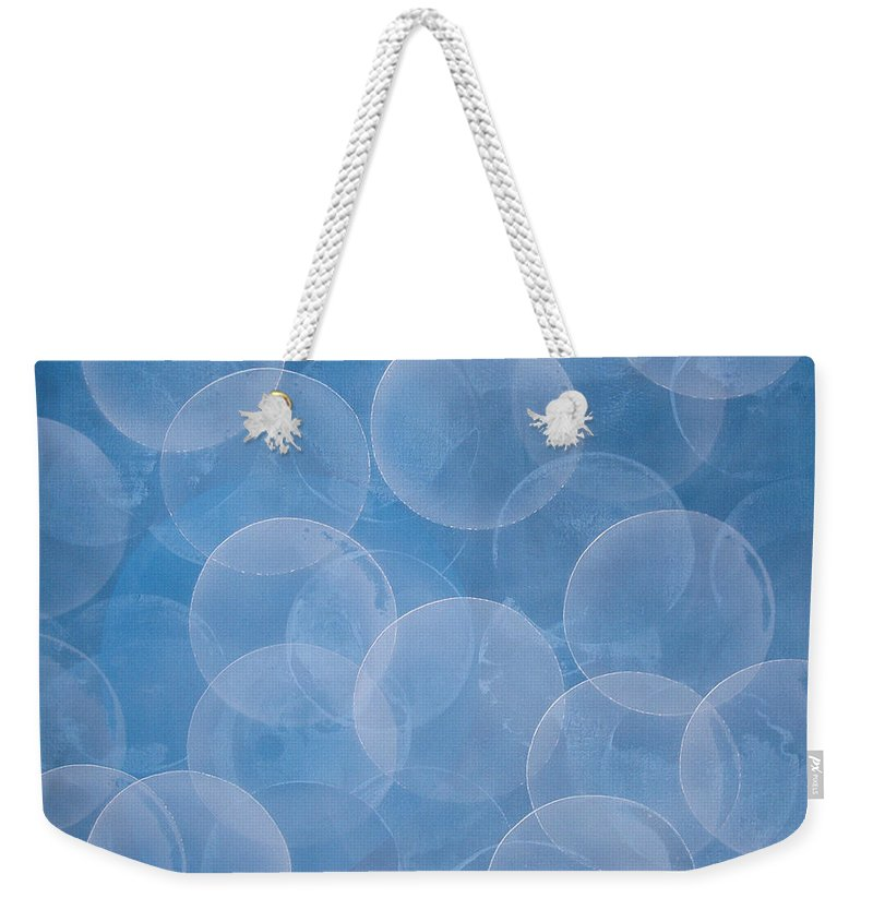 Abstract Weekender Tote Bag featuring the painting Blue by Jitka Anlaufova