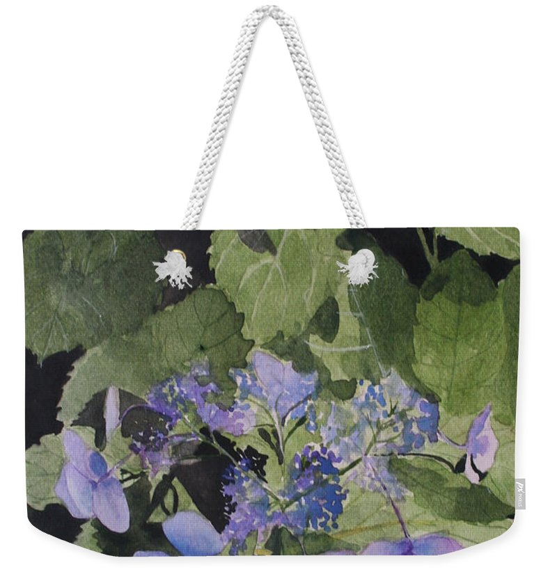 Flowers Weekender Tote Bag featuring the painting Blue Lace by Jean Blackmer