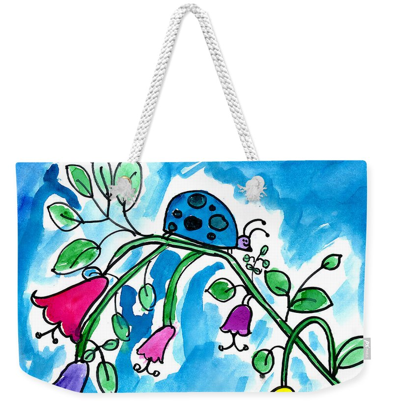 Ladybug Weekender Tote Bag featuring the painting Blue Ladybug by Jackie Wicks Age Eleven