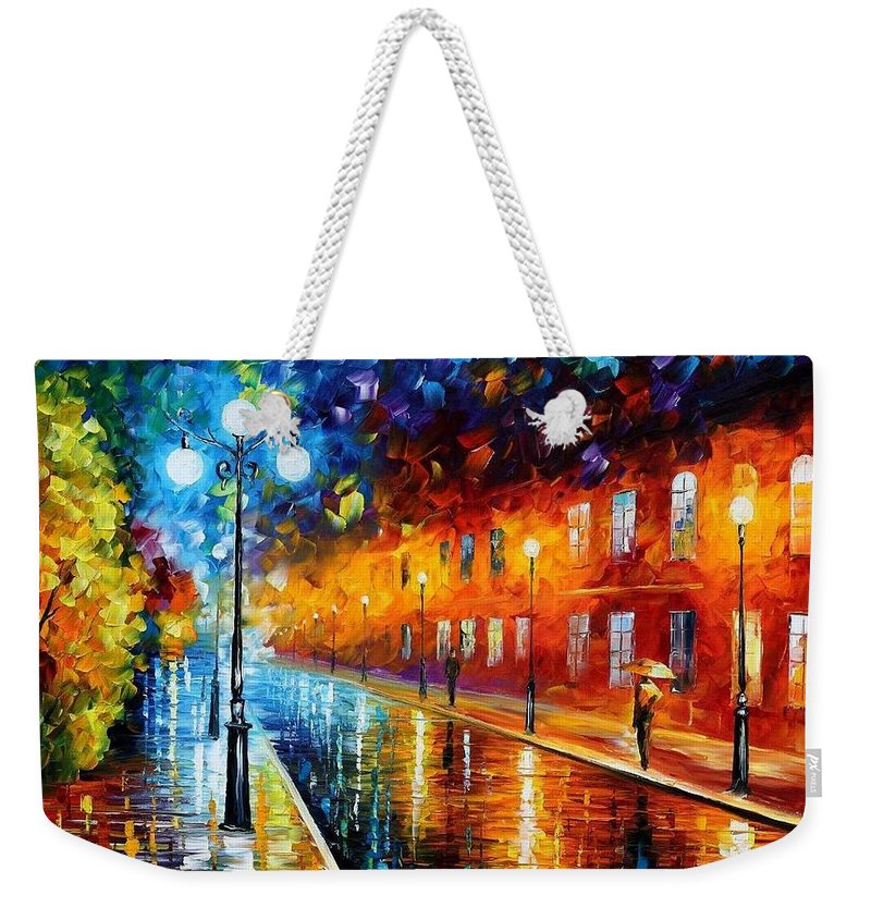 Afremov Weekender Tote Bag featuring the painting Blue Lights by Leonid Afremov