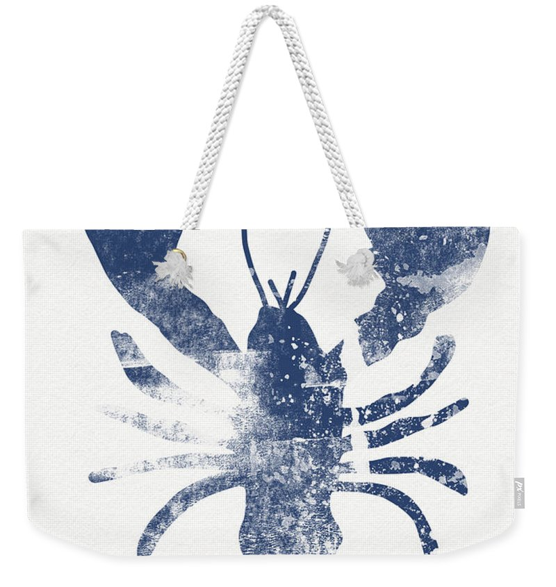 Cape Cod Weekender Tote Bag featuring the painting Blue Lobster- Art By Linda Woods by Linda Woods