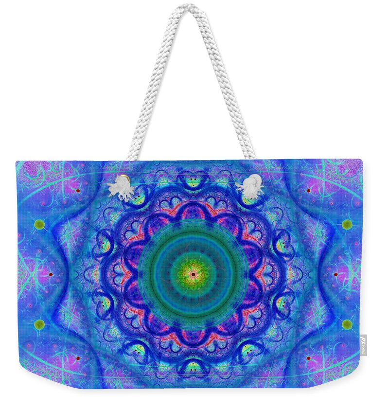 Blue; Mandala; Square; Tile; Regular; Repeat; Mirroring; Symmetrical; Turquoise; Green; Yellow; Pink; Flower; Floral; Abstract; Geometry; Chaos; Beautiful; Design; Art; Style; Pure; Shade; Gradient; Fashionable; Scarf; Boho; Heart Chakra; Spirituality Weekender Tote Bag featuring the digital art Blue Mandala For Heart Chakra by Lenka Rottova