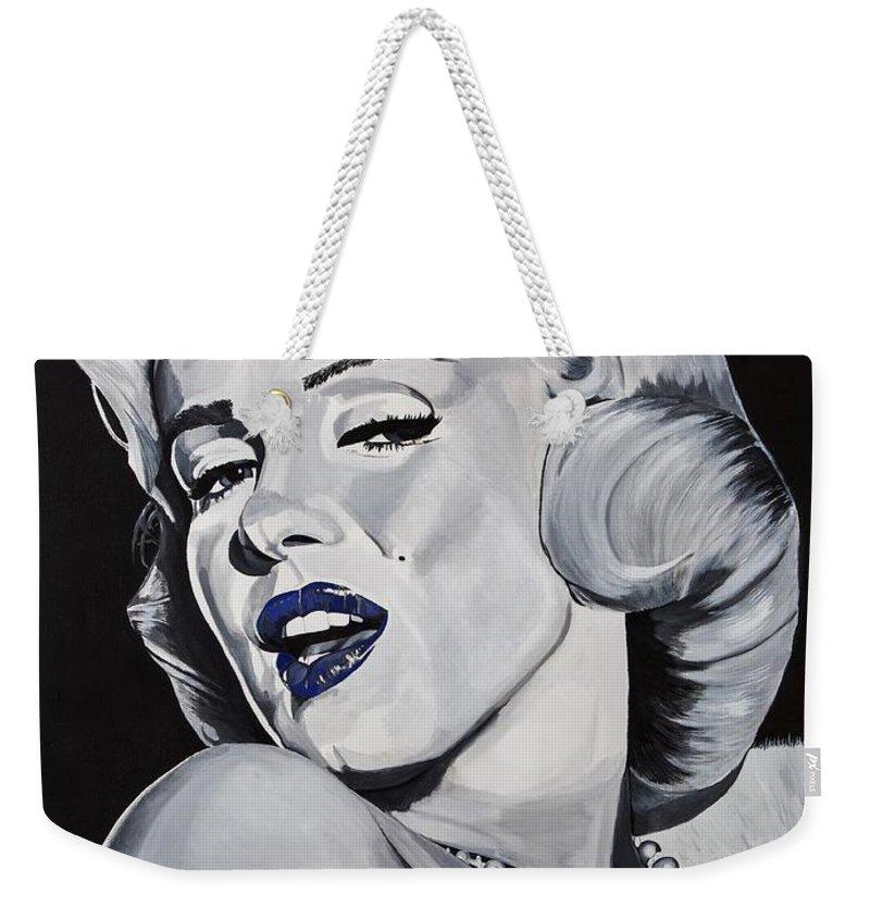 Marilyn Weekender Tote Bag featuring the painting Blue Marilyn by Brian Broadway