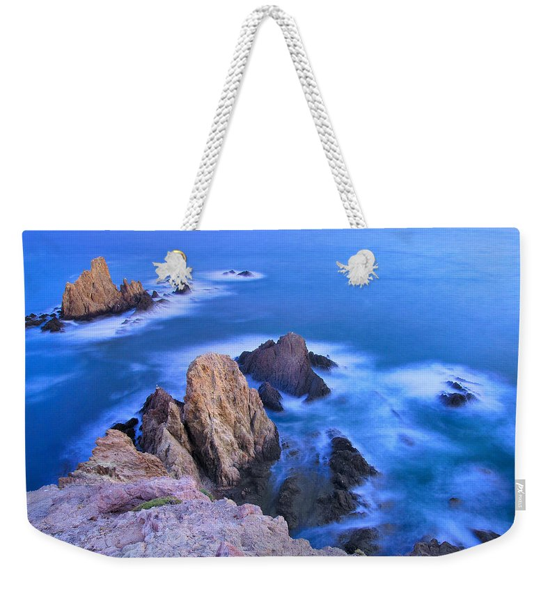 Seascape Weekender Tote Bag featuring the photograph Blue Mermaid Reef At Sunset by Guido Montanes Castillo