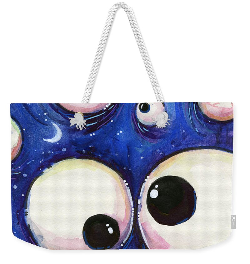 Eyes Weekender Tote Bag featuring the painting Blue Monster Eyes by Olga Shvartsur