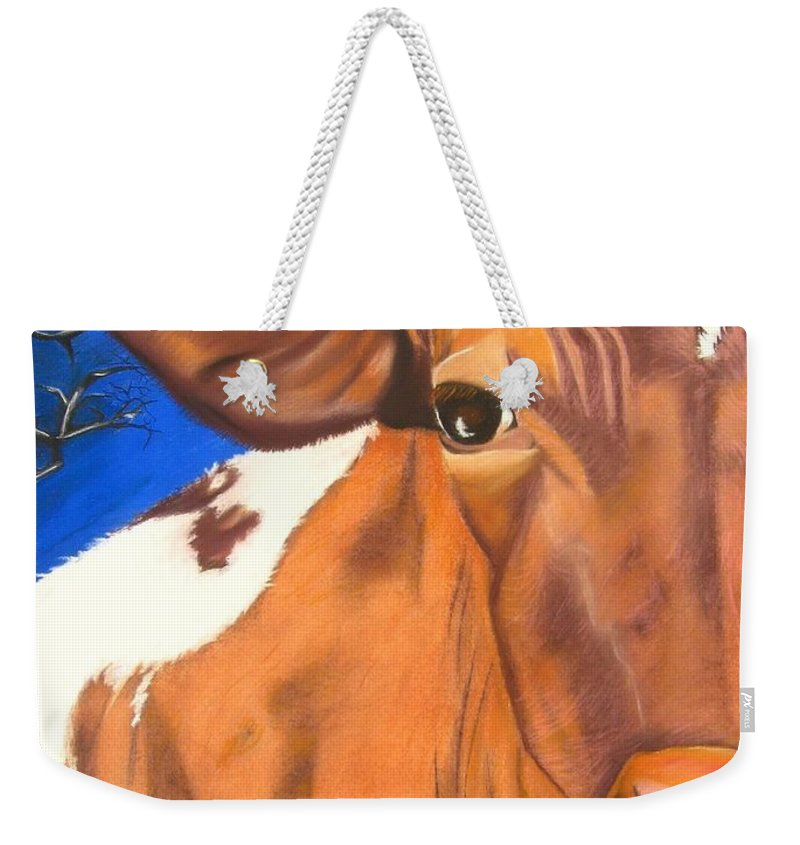 Cow Painting Weekender Tote Bag featuring the pastel Blue Moo by Michelle Hayden-Marsan