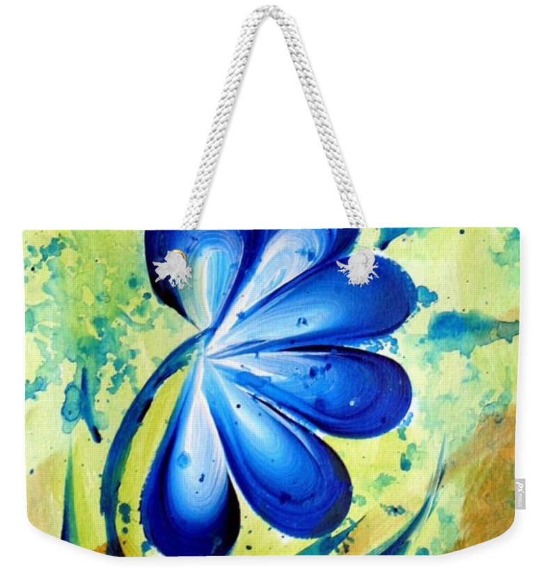Flower Weekender Tote Bag featuring the painting Blue Mood by Luiza Vizoli