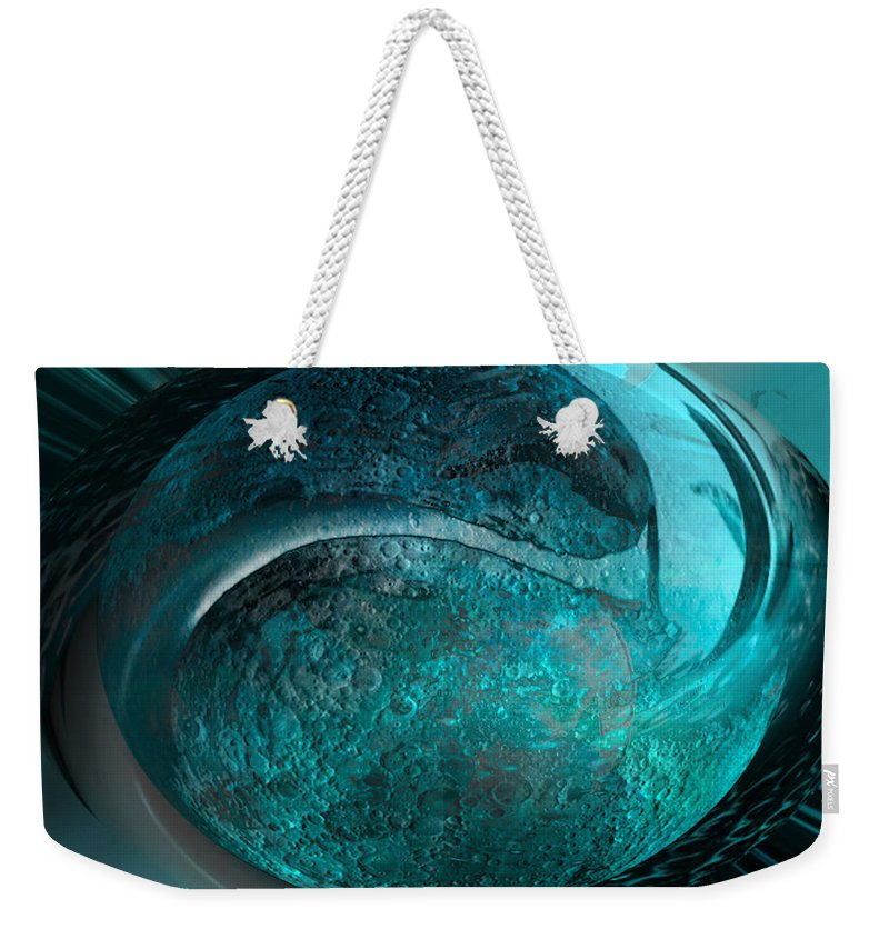 Moon Weekender Tote Bag featuring the digital art Blue Moon by Kevin Caudill