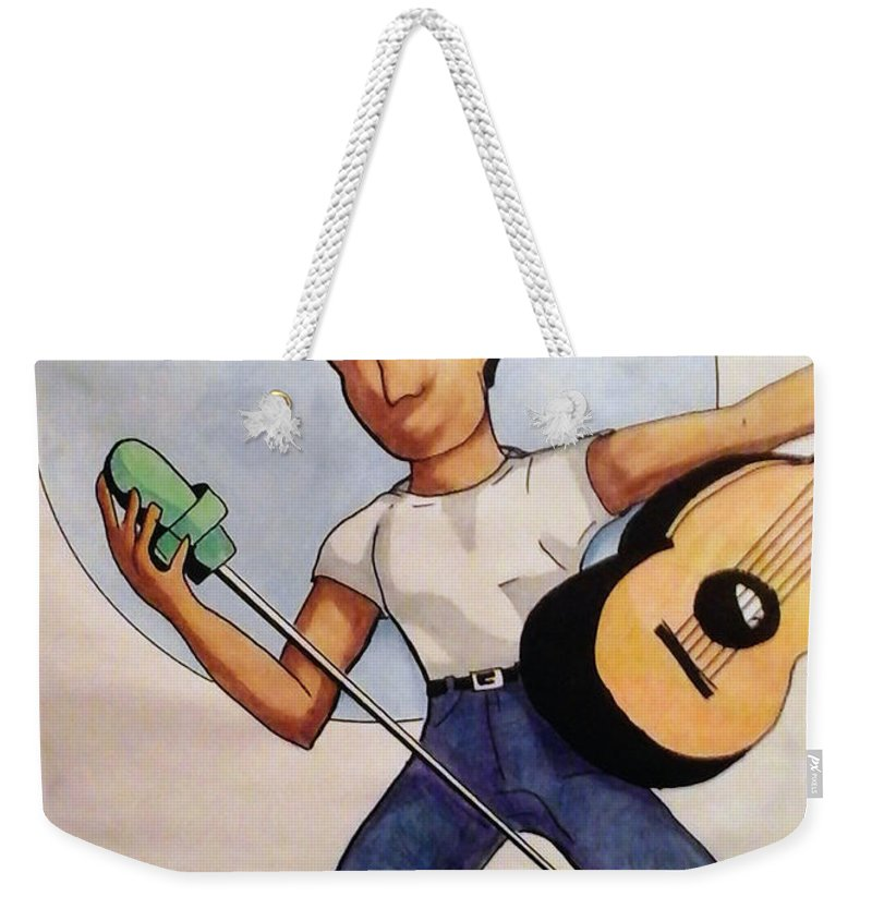 Music Weekender Tote Bag featuring the drawing Blue Moon by Loretta Nash