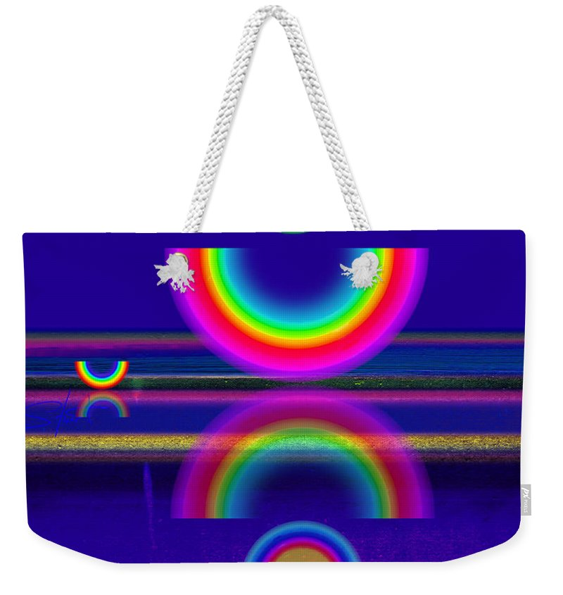 Reflections Weekender Tote Bag featuring the painting Blue Moon Reflections by Charles Stuart