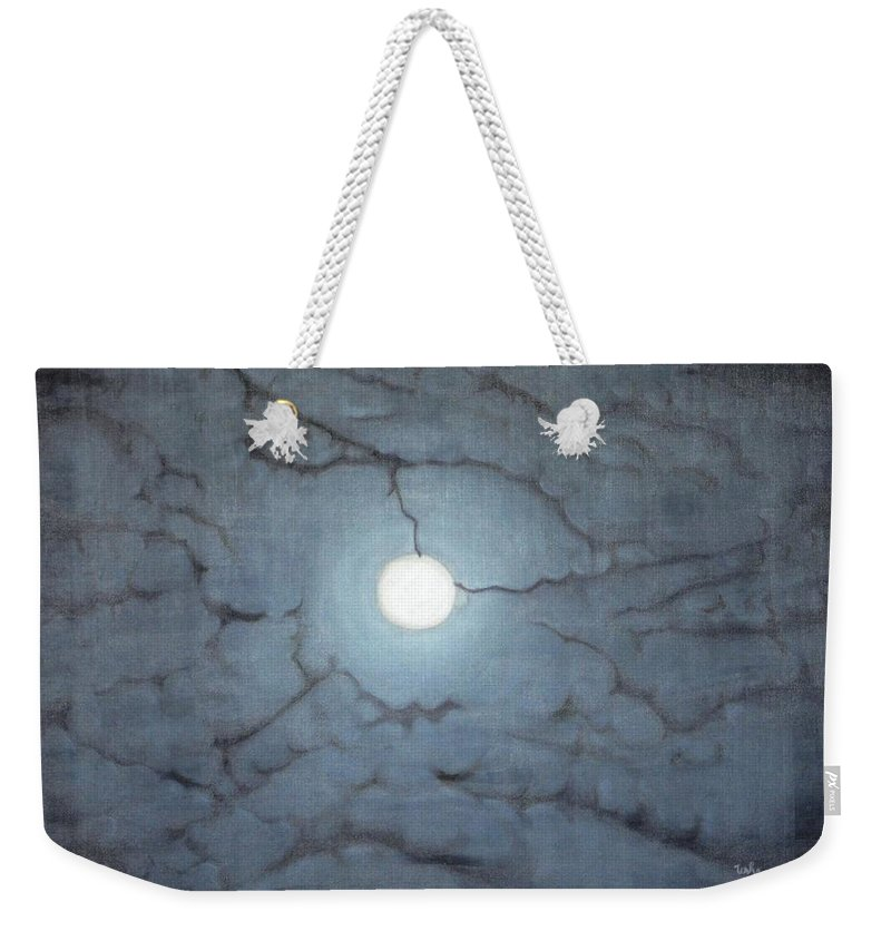 Moon Weekender Tote Bag featuring the painting Blue Moon by Usha Shantharam