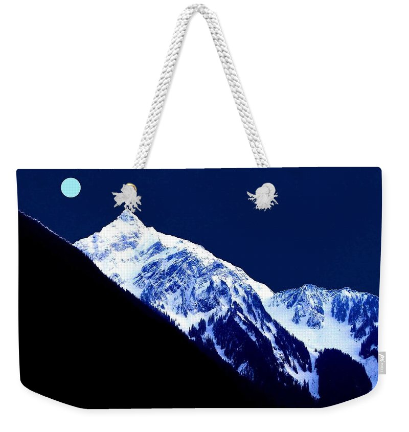 Photo-design Weekender Tote Bag featuring the digital art Blue Moon by Will Borden
