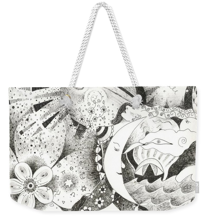 Surreal Weekender Tote Bag featuring the drawing Blue Moons And Tidbits by Helena Tiainen