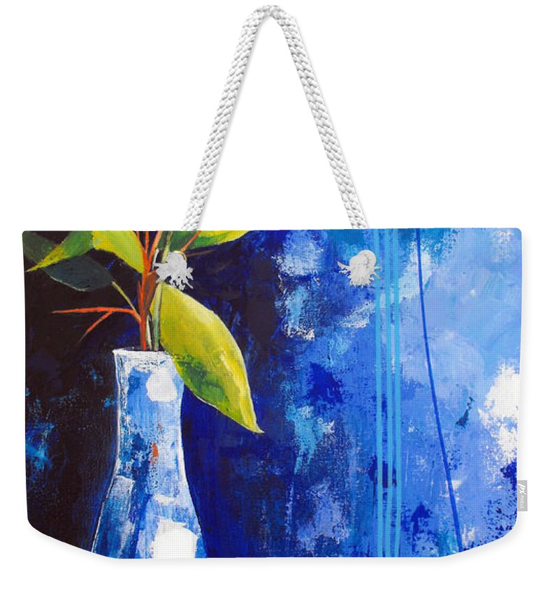 Abstract Weekender Tote Bag featuring the painting Blue Morning by Ruth Palmer