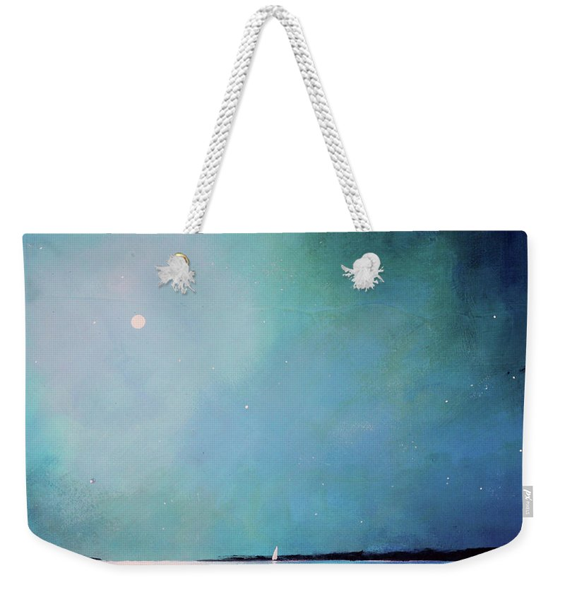 Seascape Weekender Tote Bag featuring the painting Blue Night Sky by Toni Grote