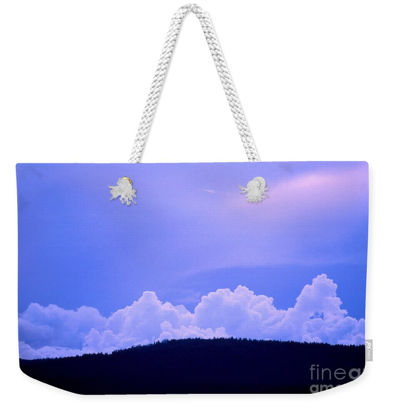 Blue Weekender Tote Bag featuring the photograph Blue On Blue by Jerry McElroy