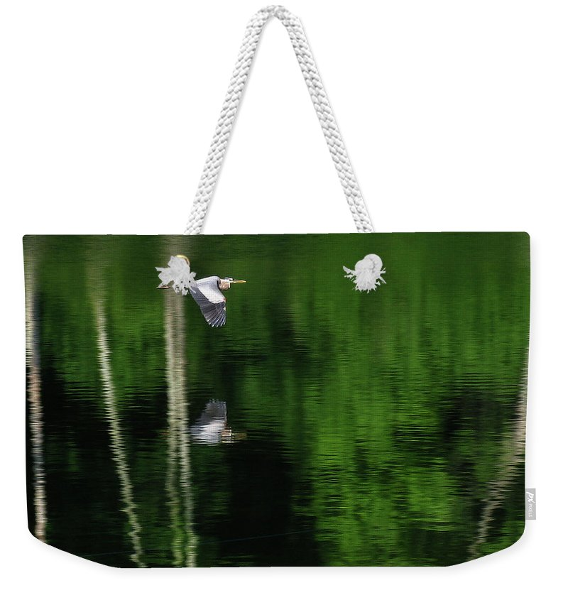 River Weekender Tote Bag featuring the photograph Blue On Green by Douglas Stucky
