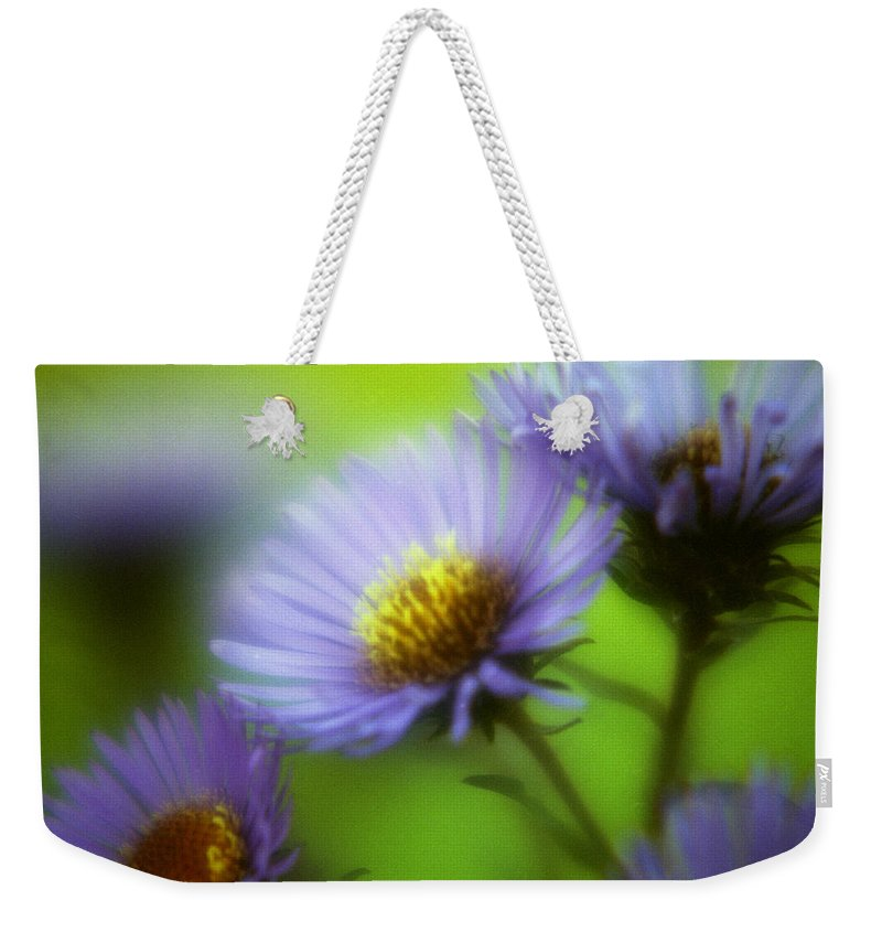 Flowers. Macrophotography Weekender Tote Bag featuring the photograph Blue On Green by Lee Santa