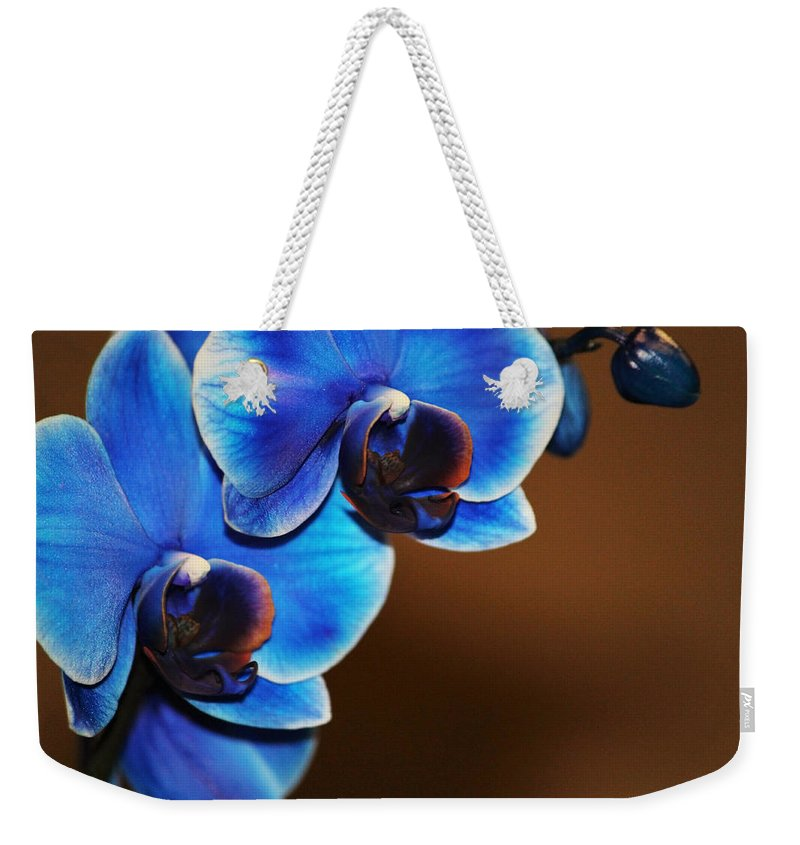 Orchid Weekender Tote Bag featuring the photograph Blue Orchids by Marnie Patchett