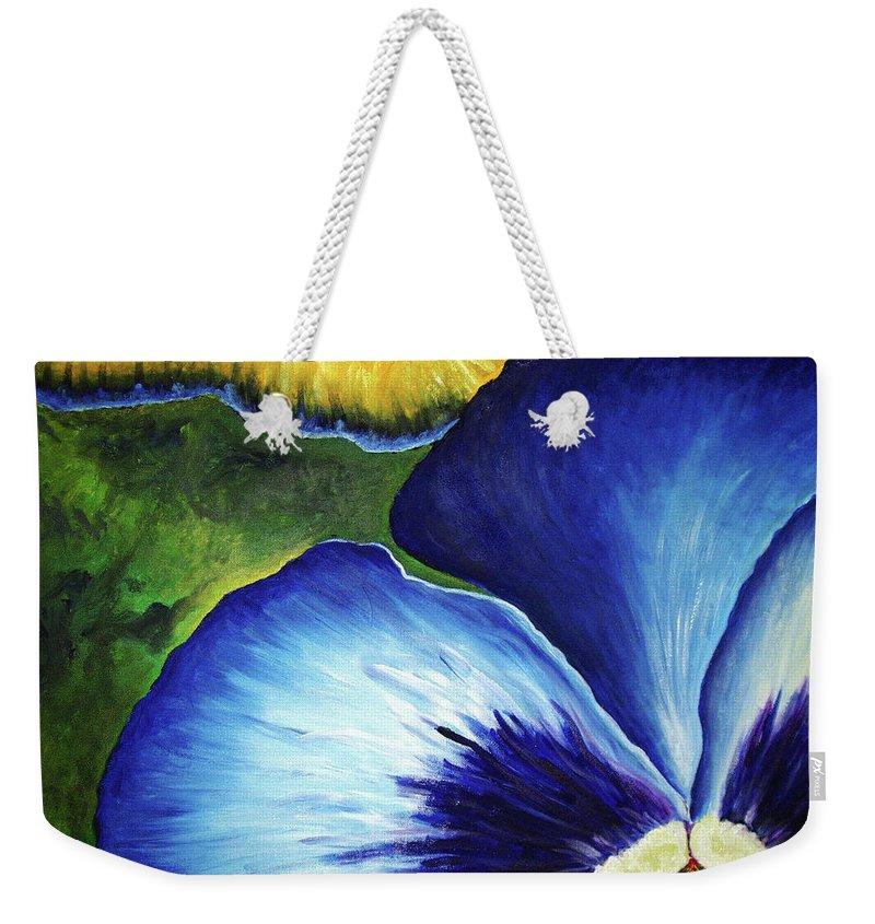 Pansy Weekender Tote Bag featuring the painting Blue Pansies by Nancy Mueller