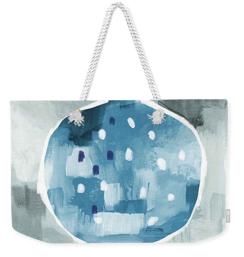 Pomegranate Weekender Tote Bag featuring the mixed media Blue Pomegranate- Art By Linda Woods by Linda Woods