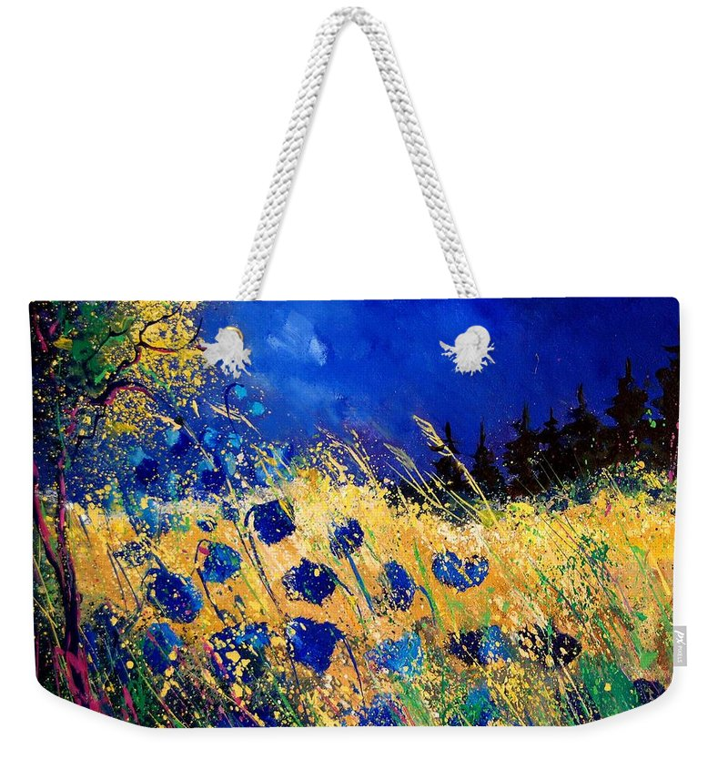 Flowers Weekender Tote Bag featuring the painting Blue Poppies 459070 by Pol Ledent