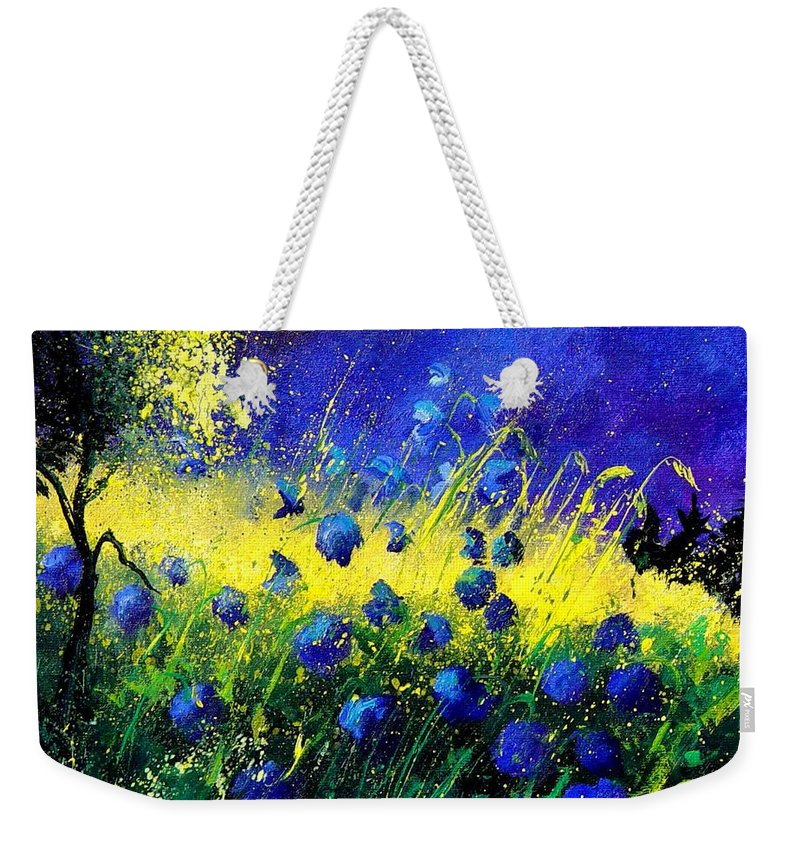 Flowers Weekender Tote Bag featuring the painting Blue Poppies by Pol Ledent
