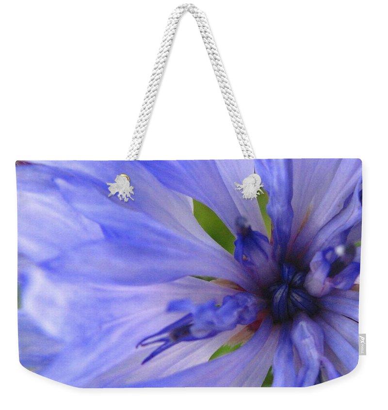 Flower Weekender Tote Bag featuring the photograph Blue Princess by Rhonda Barrett