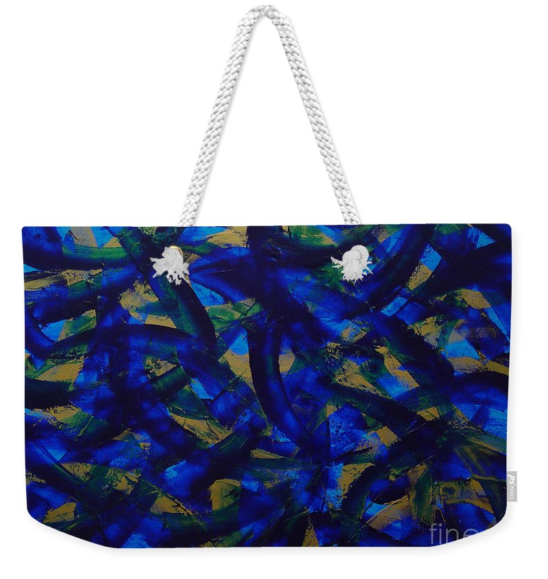 Abstract Weekender Tote Bag featuring the painting Blue Pyramid by Dean Triolo
