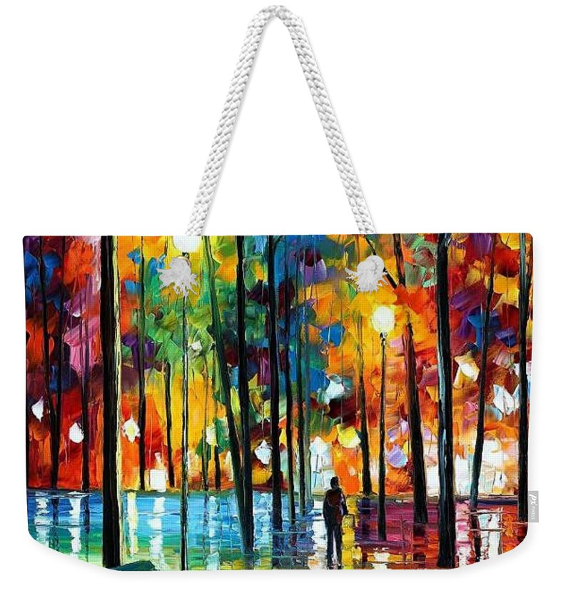 Afremov Weekender Tote Bag featuring the painting Blue Refelctions by Leonid Afremov
