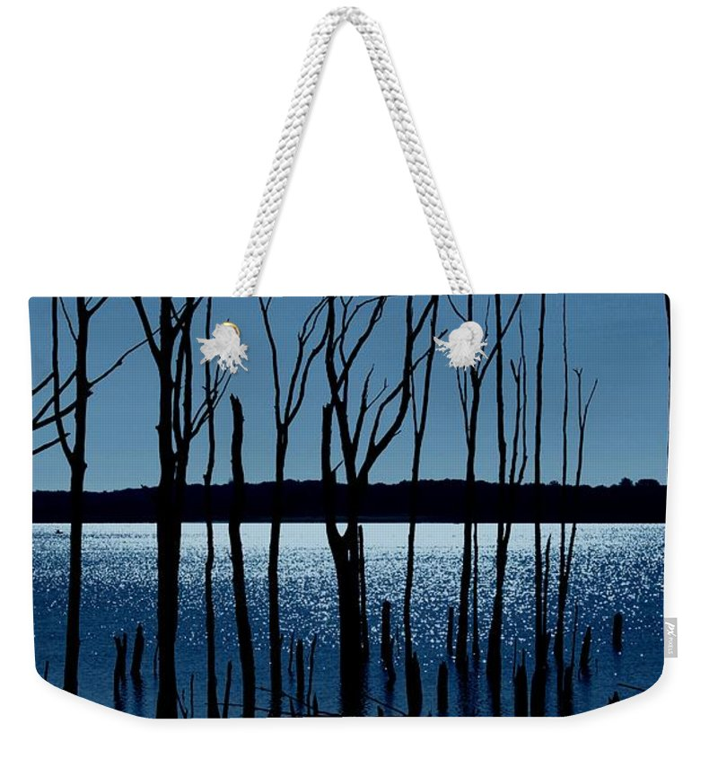 Nature Landscapes Weekender Tote Bag featuring the photograph Blue Reservoir - Manasquan Reservoir by Angie Tirado