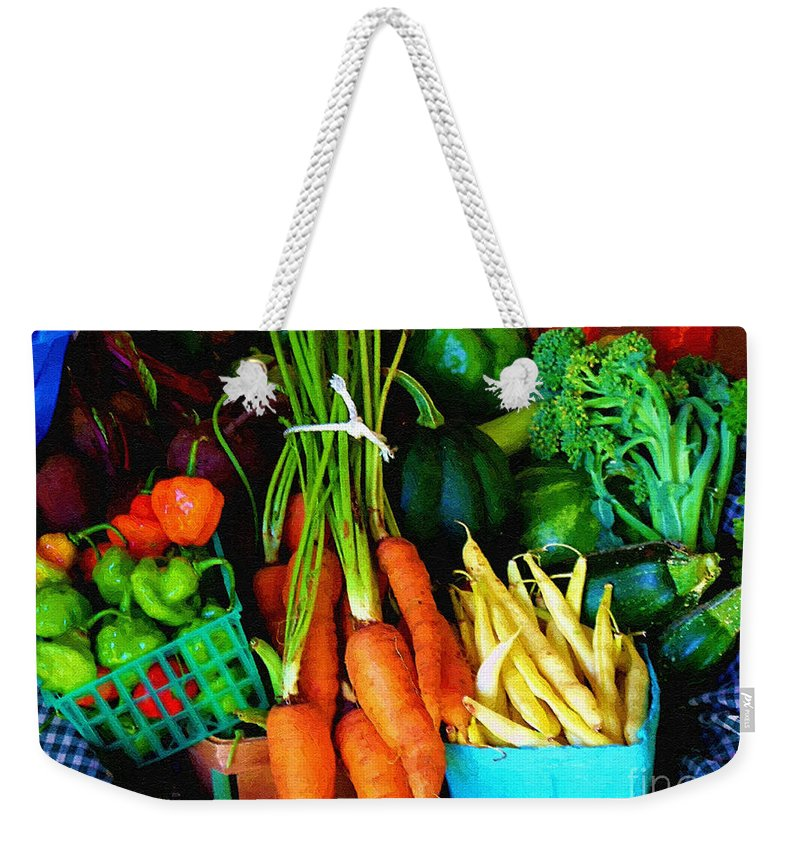 Basket Weekender Tote Bag featuring the painting Blue Ribbon Harvest by RC DeWinter