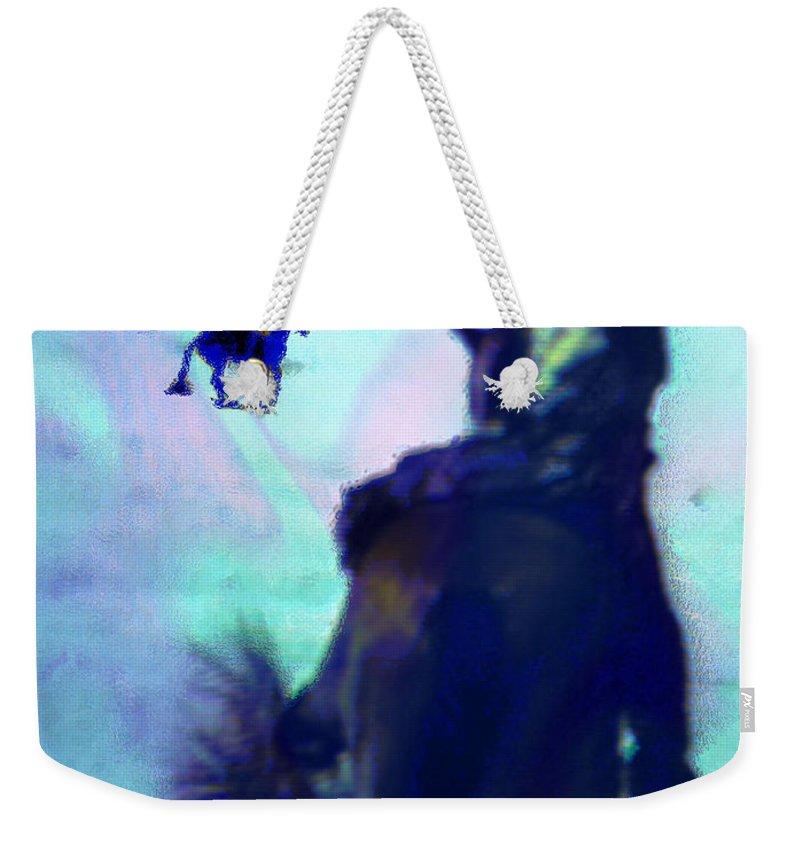 Blue Weekender Tote Bag featuring the digital art Blue Riders by Seth Weaver
